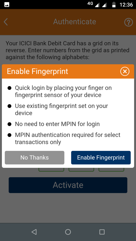 Enable fingerprint login in iMobile app