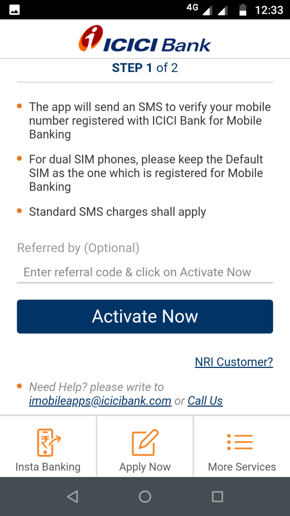ICICI mobile banking - activate now