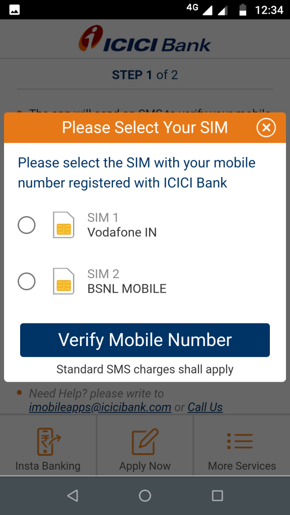 ICICI mobile banking - select SIM