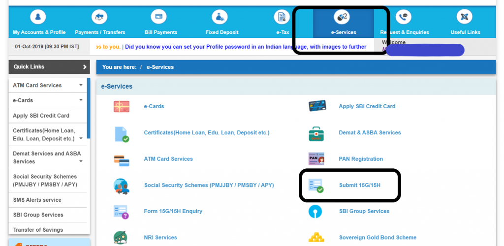 Submit form 15G 15H SBI via internet banking