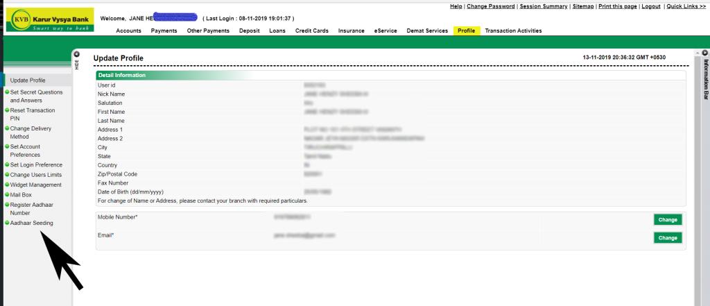 Aadhar seeding -  KVB Net banking