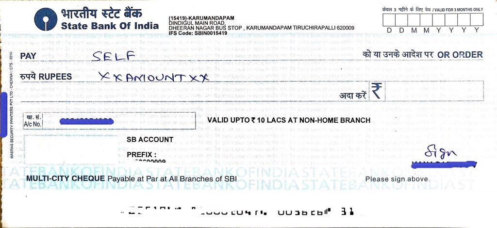 Self Cheque