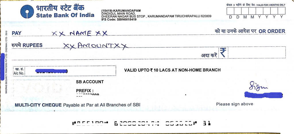 Without account payee cheque