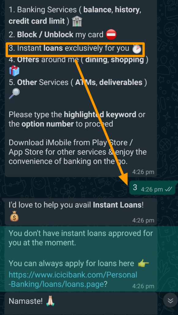 WhatsApp Banking By ICICI